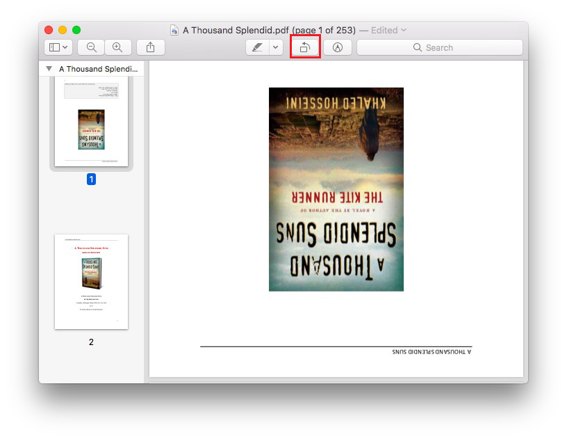 how to rotate pdf on mac and save