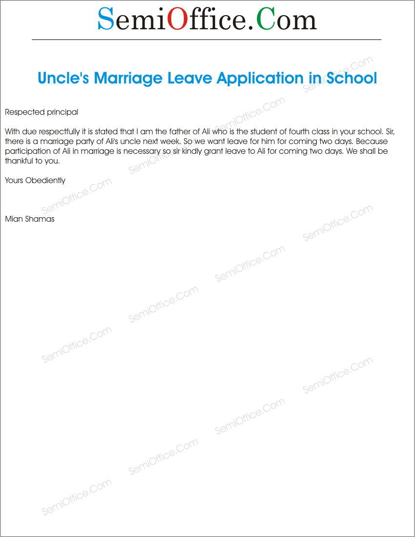 leave application letter from student to teacher