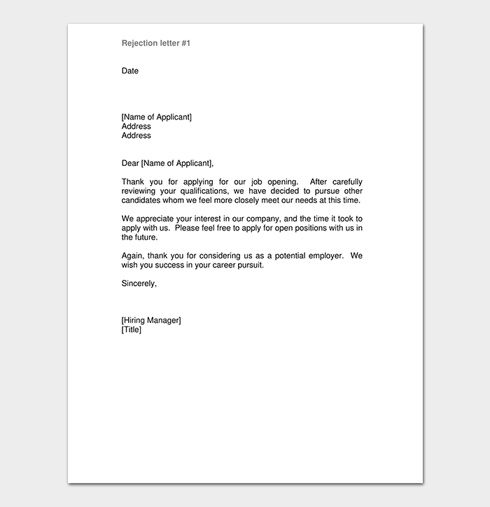 email response to job application rejection