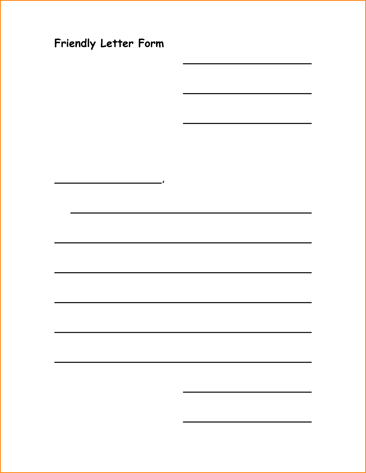 friendly letter template pdf