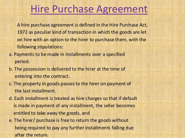 hire purchase agreement sample