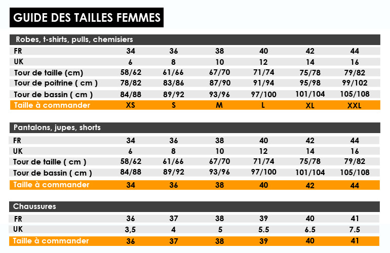 guide taille femme