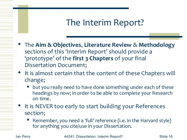 interim research report sample