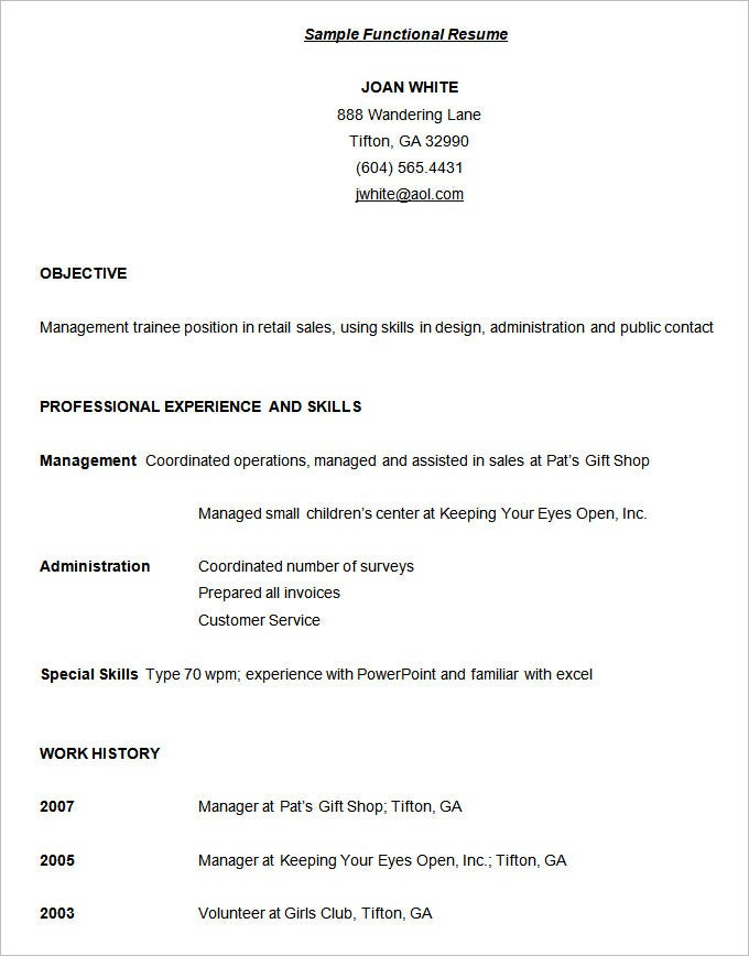 functional resume sample
