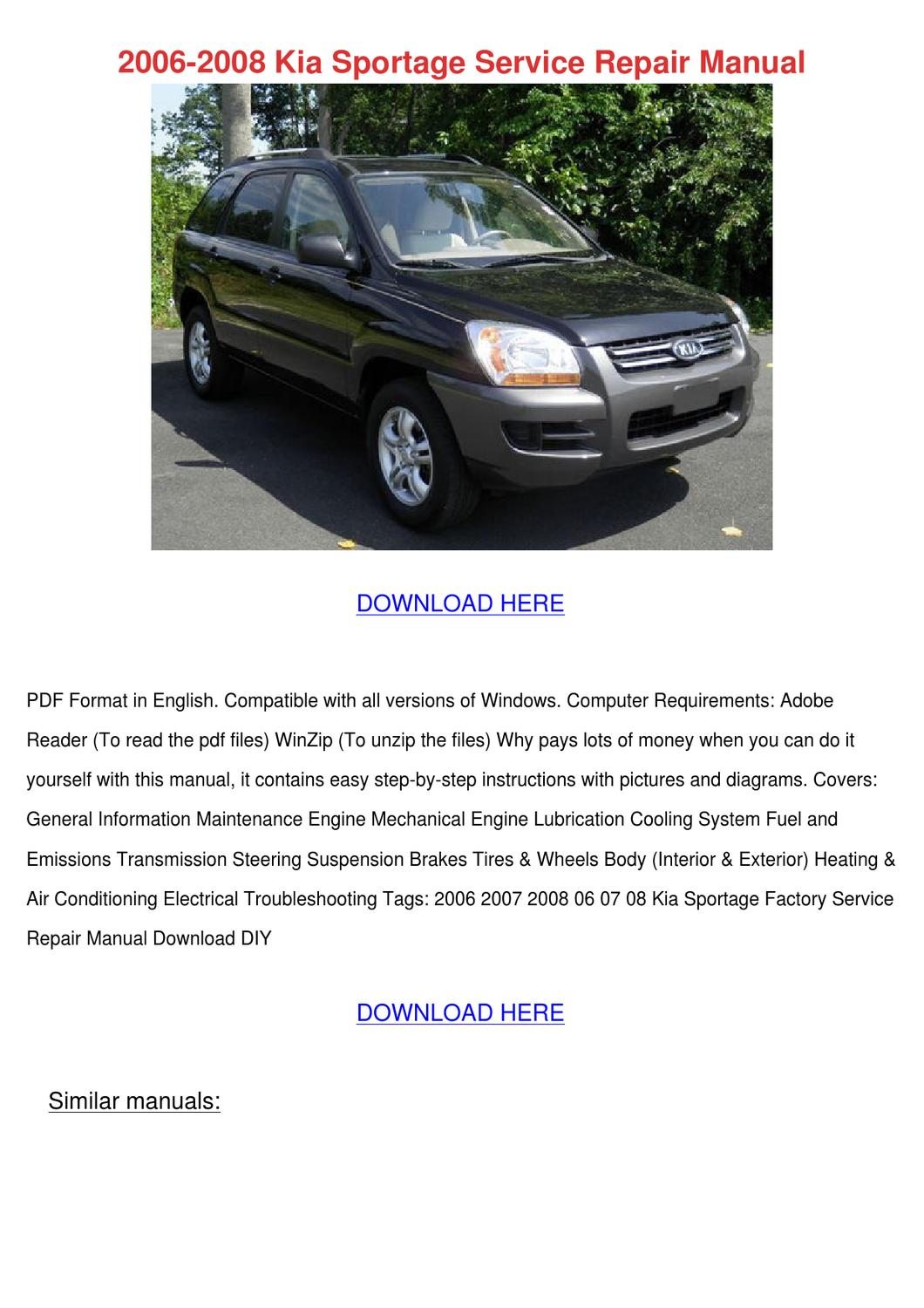 manual for 2008 kia sportage