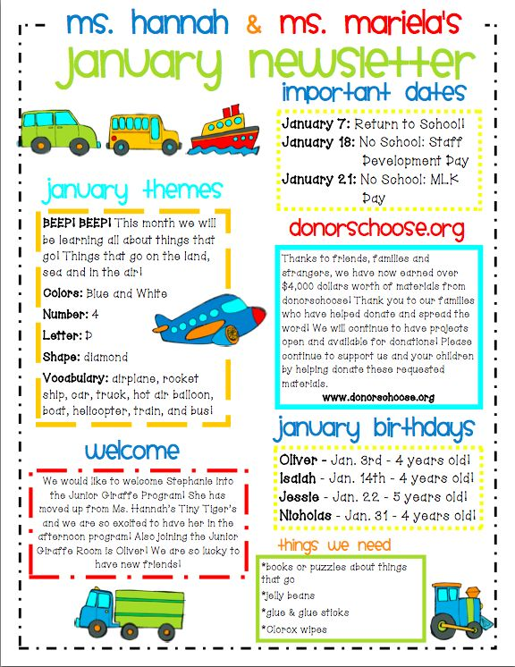 kindergarten newsletter sample