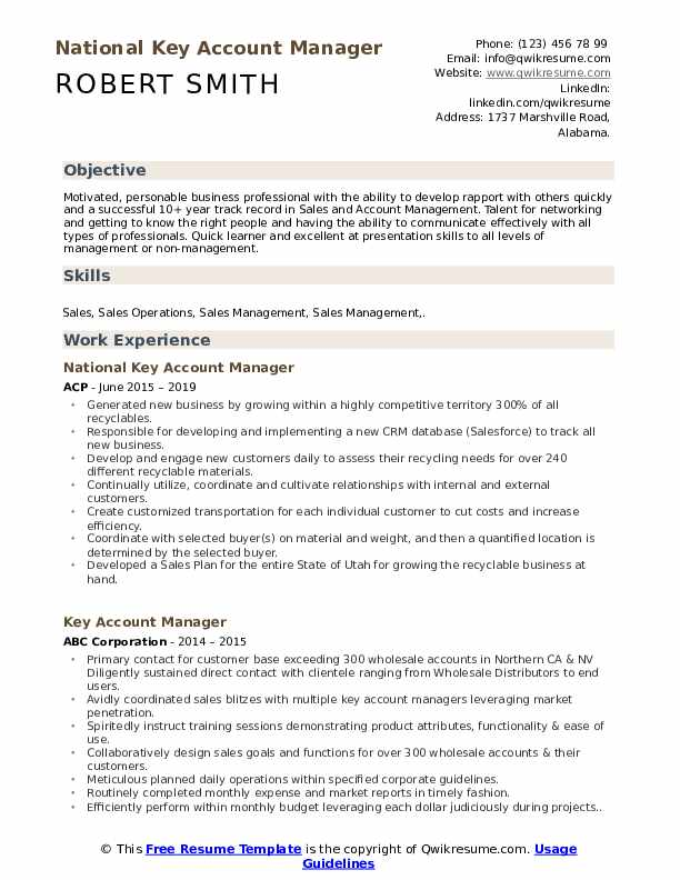 key account manager skills pdf