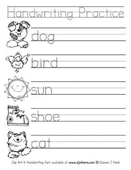 handwriting practice sheets pdf