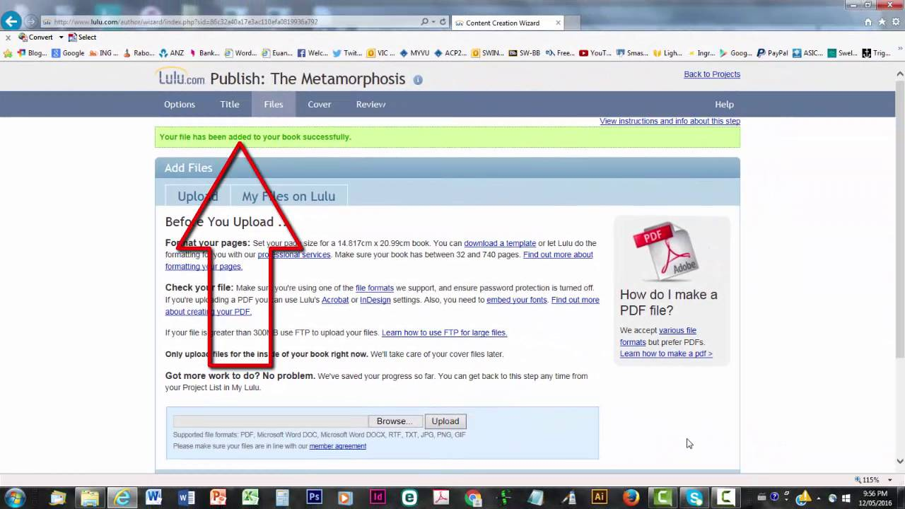 how to upload picture as pdf