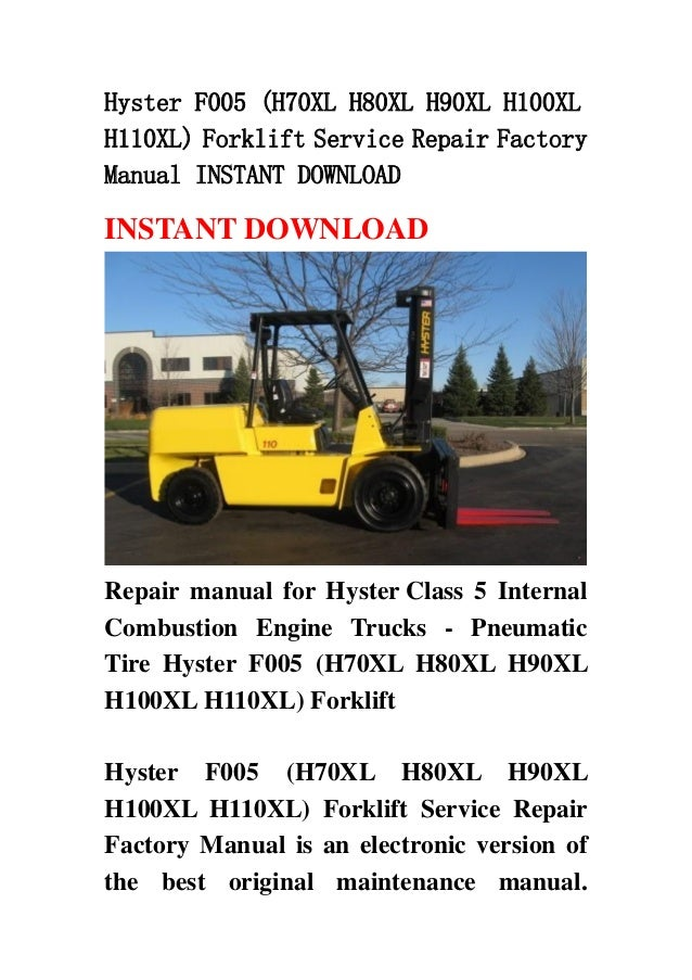 hyster forklift repair manual