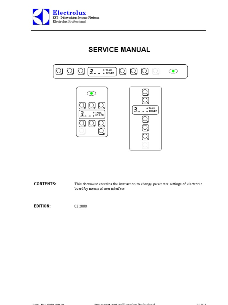electrolux 302 dishwasher service manual