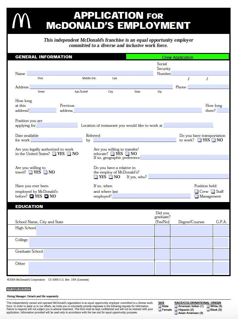 fill out mcdonalds application online