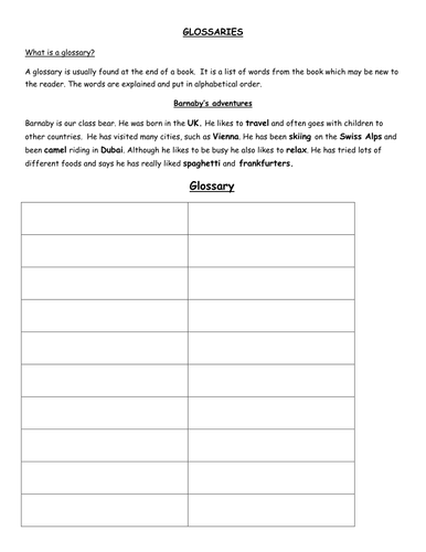 free glossary template