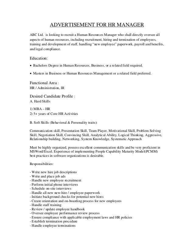 general manager job specification sample