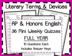 glossary of literary terms quiz