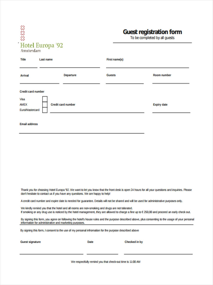 hotel guest registration form sample