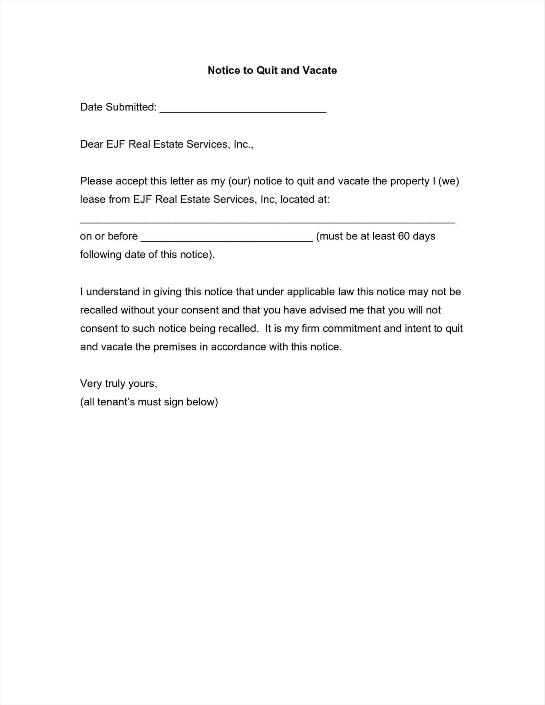 house vacate notice letter to tenant sample