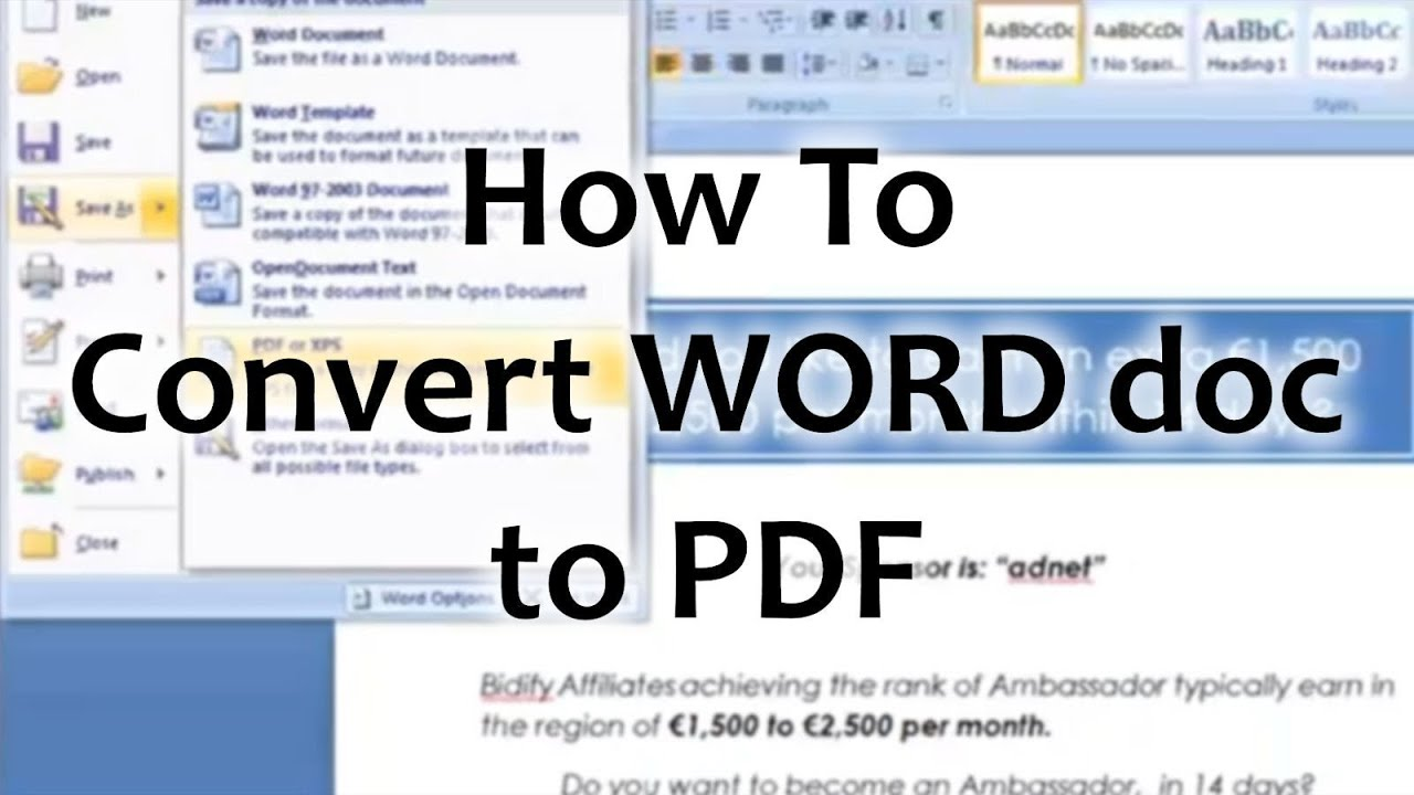 how do convert pdf to word document