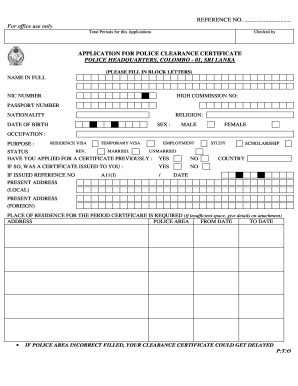 how to fill police clearance certificate request application sri lanka