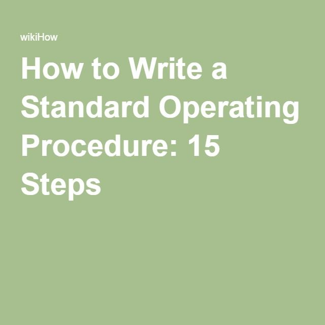 how to write a good operations manual