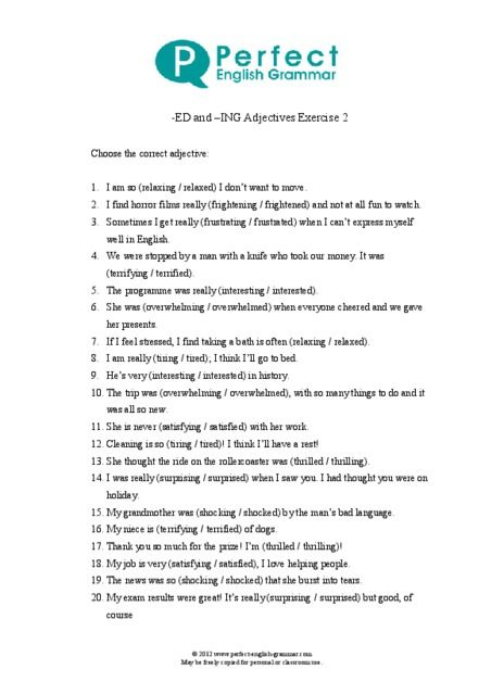 ing ed adjectives exercises pdf