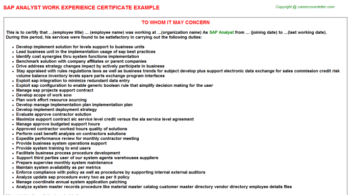 job experience letter sample for canada immigration