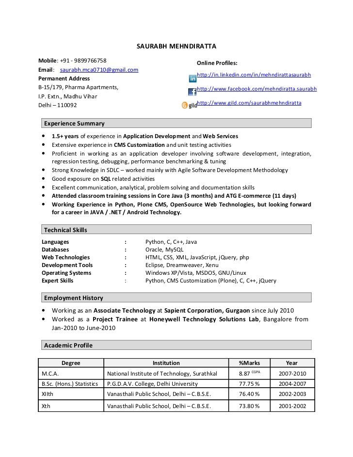 manual testing resume for 1 years experience